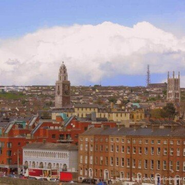 The tower of Shandon over the buildings of Cork City