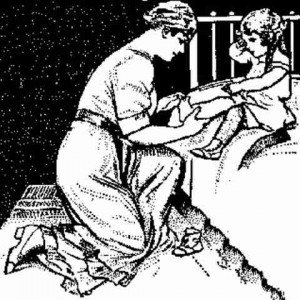 Vintage sketch of a mother counting her child's toes as the child sits on the edge of a bed