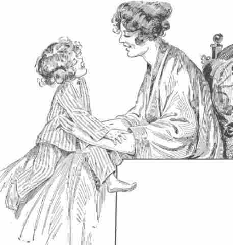 Sketch of a child on her mother's knee from Victorian times