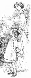 A sketch of a mother walking with her child in Victorian times