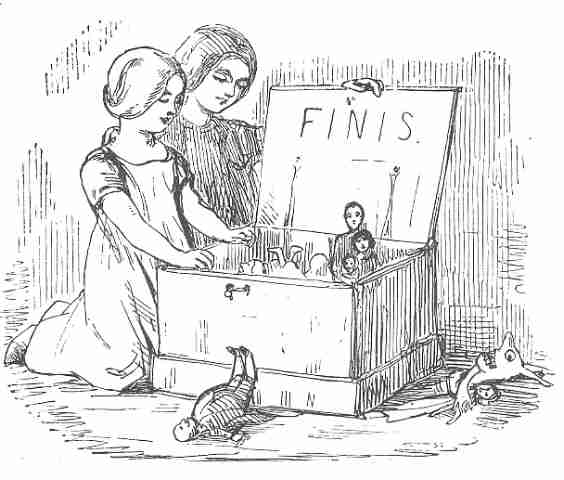 Sketch of two girls opening a box of puppets
