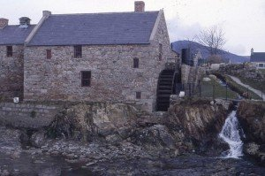 Old stone mill with water wheel near Annalong County Down Northern Ireland
