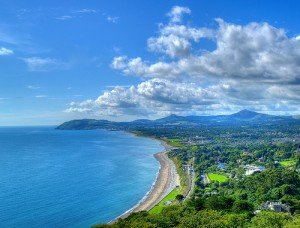 Looking toward County Wicklow from the top of Killiney Hill in County Dublin