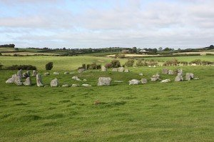Ballynoe in County Down with ancient stone circle in a field