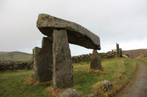 Large capstone on the Legananny Dolmen in County Down Northern Ireland