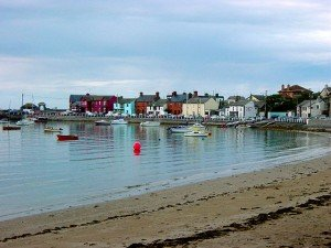 Boats moored off the harbour in Skerries County Dublin