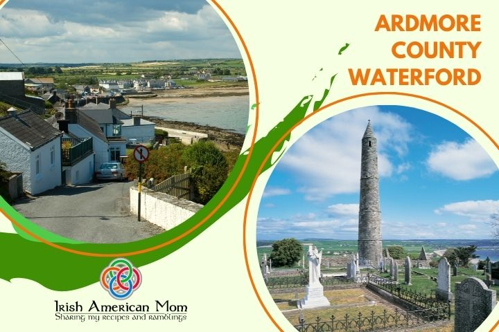 A town by the sea and a round stone tower featured in a graphic with text, scroll and a logo