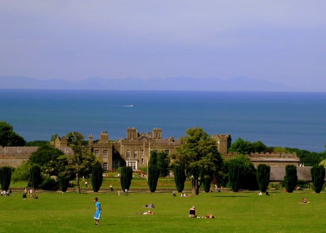 Looking down toward Ardgillan Castle and the Irish coastline with the Mountians of Mourne faintly seen in the background