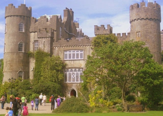 Turreted towers and paneled windows on the front of Malahide Castle