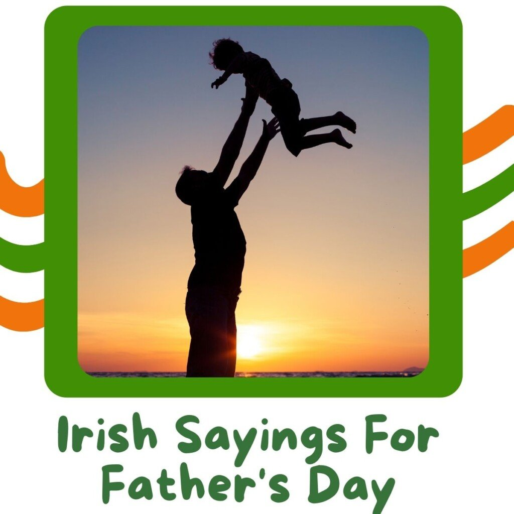Silhouette of a man raising a child in the air with text