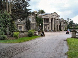 Large gray front on a pillared grand home in County Down