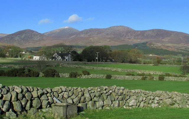 Granite stone walls separating fields near the Mountains of Mourne