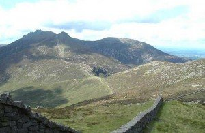 A stone wall crossing the summits of the Mourne Mountains in County Down