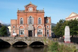 Arched bridge beside the Newry Town Hall and War Memorial