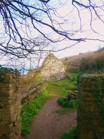 The remains of a stone church on the coast in a green field