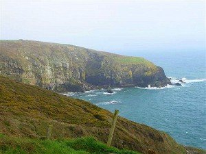 The sea cliffs by the ocean in Ardmore County Waterford