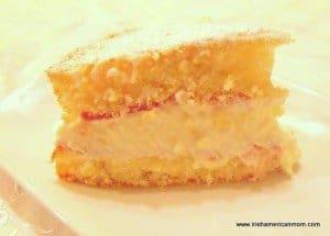 A cream filled jam sponge using an Irish recipe
