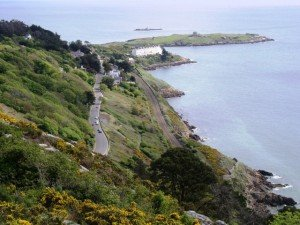 View if Vico Road from the top of Killiney Hill in Dublin
