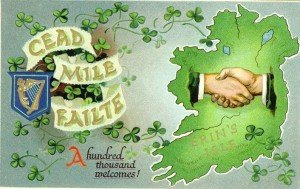 A vintage sign with map of Ireland and shaking hands saying Cead mile failte