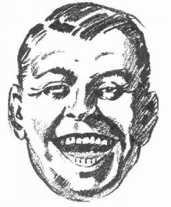 Vintage sketch of a laughing man's face