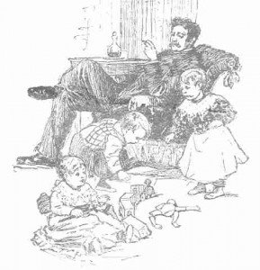 Sketch of a smoking father watching his children play with vintage toys