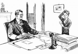 Vintage sketch of man sitting behind a desk with a boy scratching his head