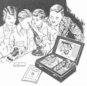 Black and white sketch of a child looking into a microscope surrounded by his family