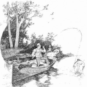 Three men in a boat fishing with one reeling in a fish