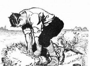 A sketch of a farmer binding a sheaf of wheat