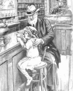 Old man and young girl in a vintage ice cream parlour