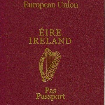 Maroon cover of an Irish passport