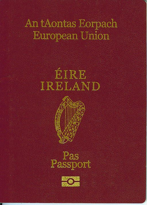 Maroon cover of an Irish passport