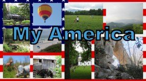 rural American images in a collage with the frame between images highlighted by the American flag