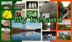 Images of Ireland in a graphic framed by the Irish flag