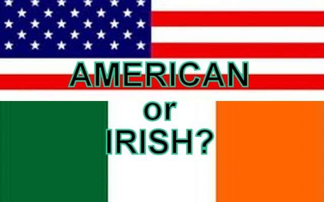 A graphic showing an American flag on top and an Irish flag on the bottom