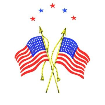 Two American flags on flag poles with stars above