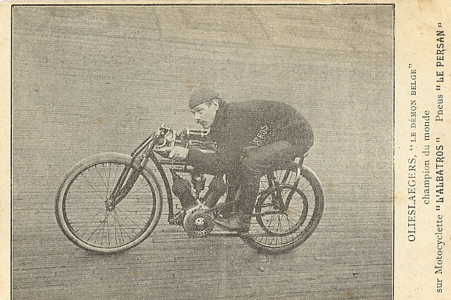 A vintage bicycle with a motor from a vintage paper clipping
