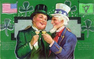 Uncle Sam toasts an Irish gentleman on a vintage greeting card
