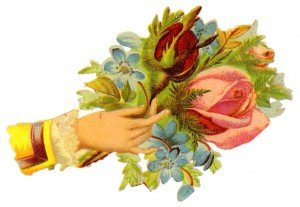 Vintage Floral Illustration - Rose Picking