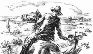 Sketch of a pony express rider placing a letter in a mail box with cactus growing nearby