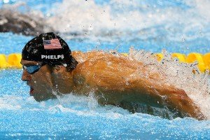 Michael Phelps performing in a swimming pool