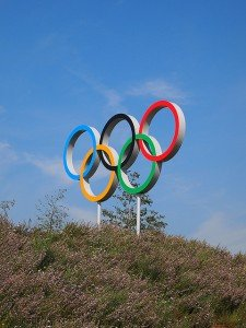 The Olympic sign on a hillside