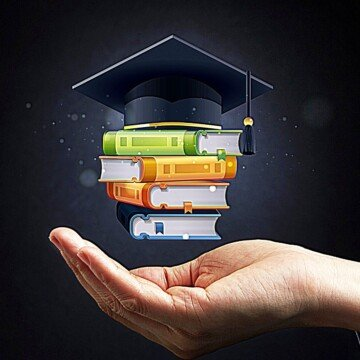 A pile of books with a graduation hat on top hovering over an open palm