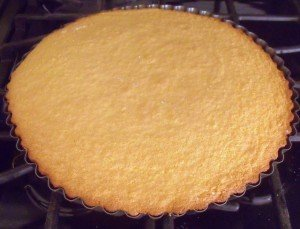 Golden brown crust on a sponge flan