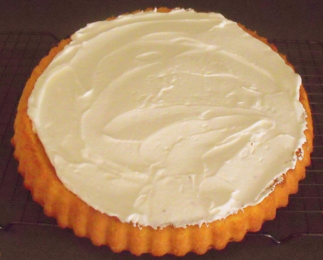 Freshly whipped cream spread over the sponge of a flan.