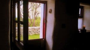 The open top of an Irish half door as seen from the interior of the cottage