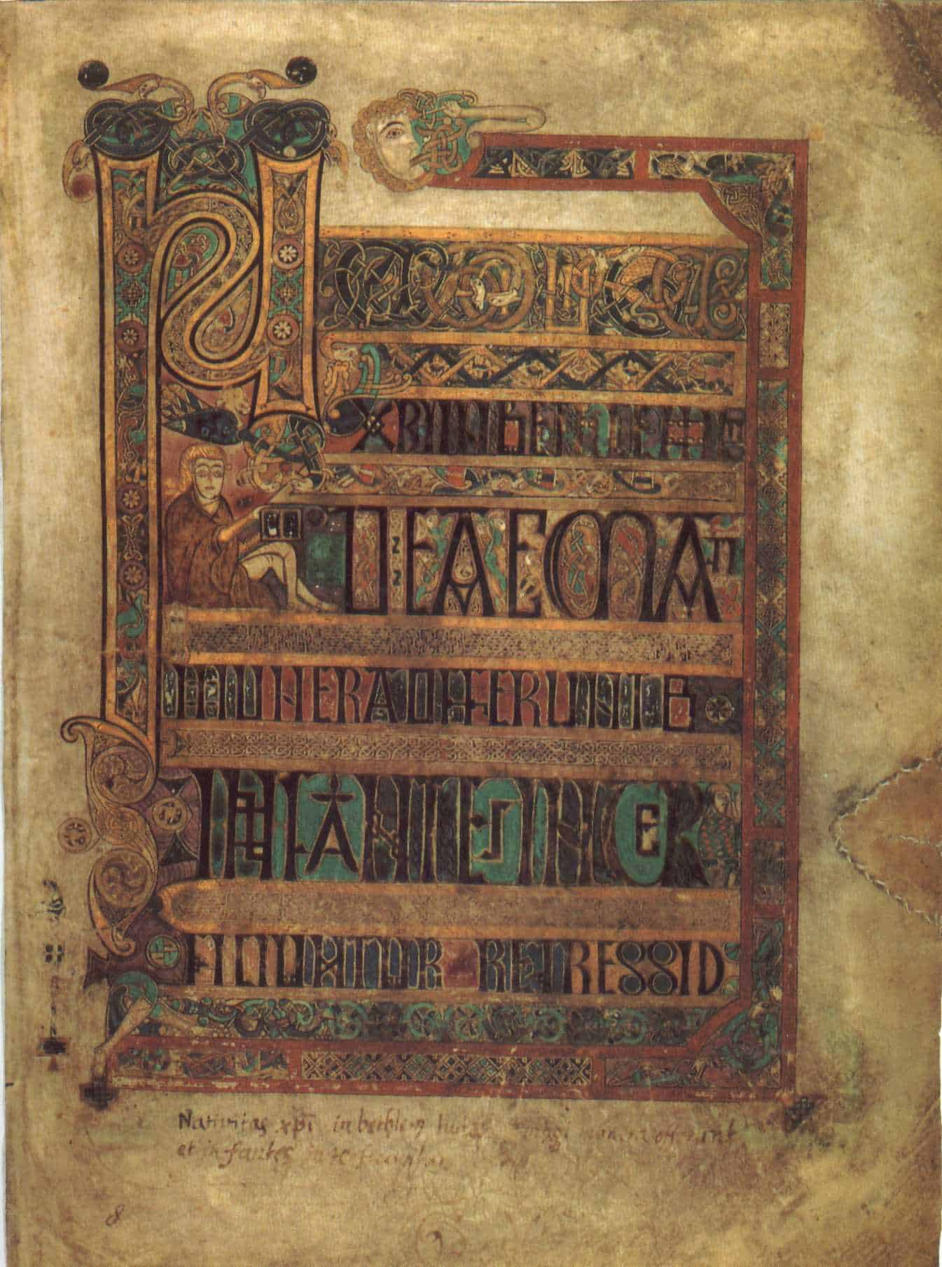 Irish illustrated manuscript page shown at Trinity College Dublin