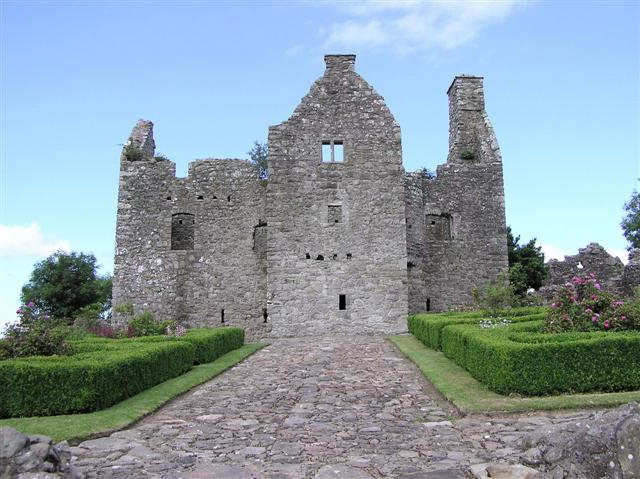The derelict ruined remains of Tully Castle in County Fermanagh