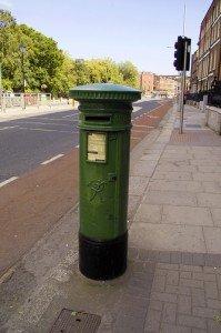 Green Irish post box on Saint Stephen's Green