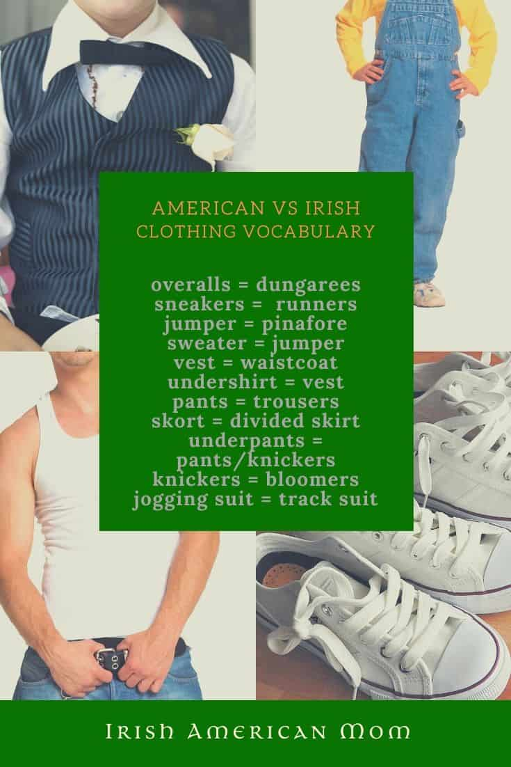 Different words used in Ireland and America to describe items of clothing